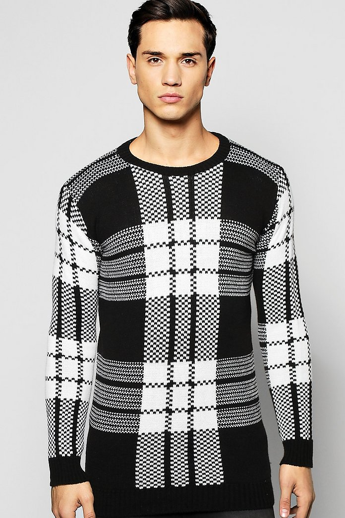 Brushed Check Crew Neck Jumper