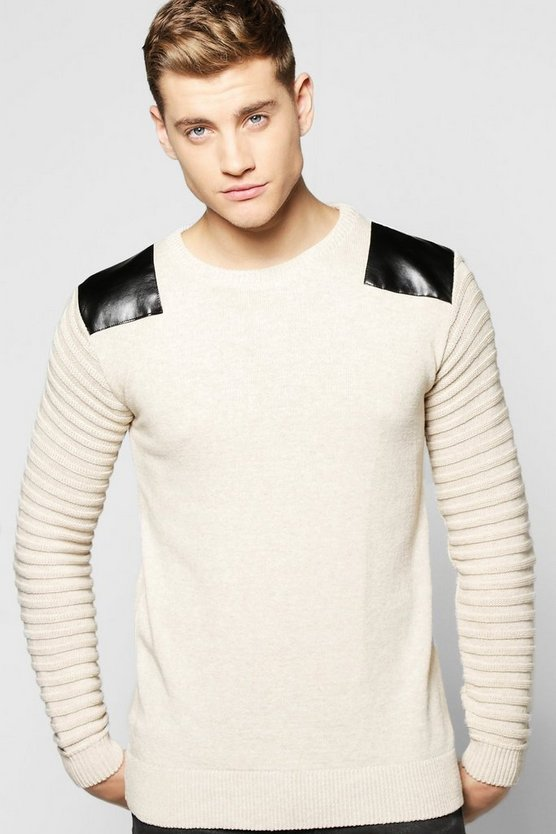 Knitted Jumper With Biker Details