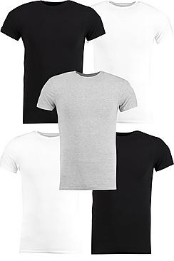 5 Pack Muscle Fit T Shirt