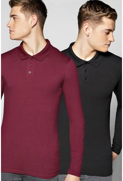 Long Sleeve Muscle Fit Polo 2 Pack