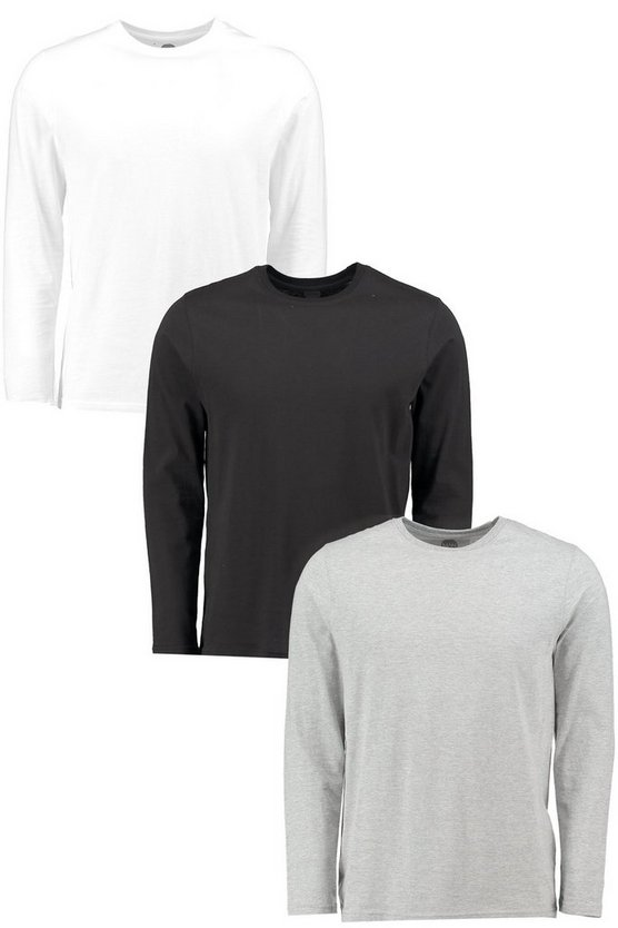 3 Pack Crew Neck Long Sleeve T Shirts in Slim Fit
