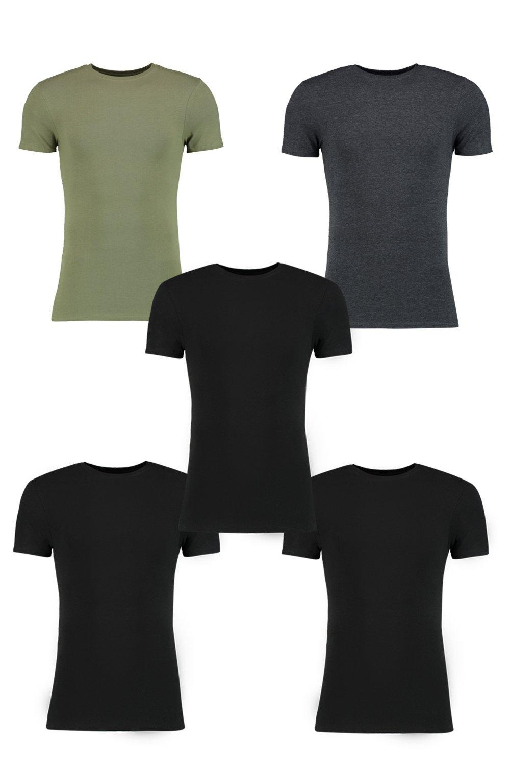 5 Pack Muscle Fit T Shirts