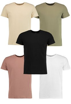 5 Pack Crew Neck T Shirt