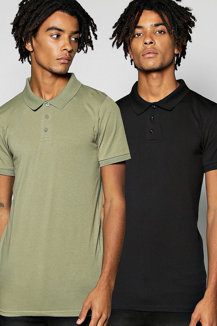 Muscle Fit Polo 2 Pack In Black And Khaki