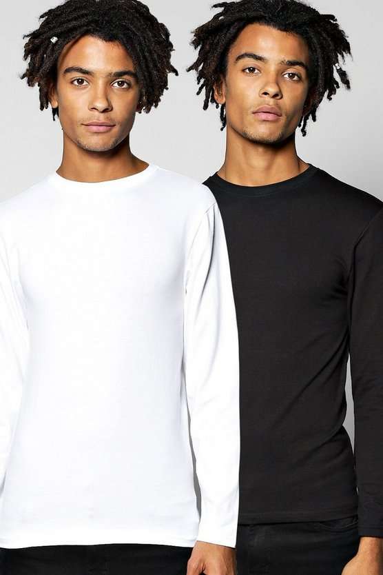 Long Sleeve Muscle Fit T Shirt 2 Pack