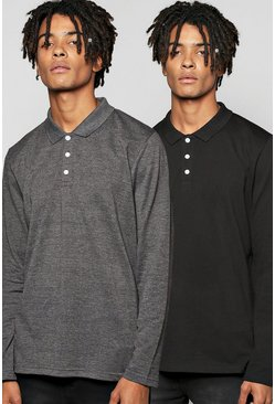 Long Sleeve Pique Polo 2 Pack