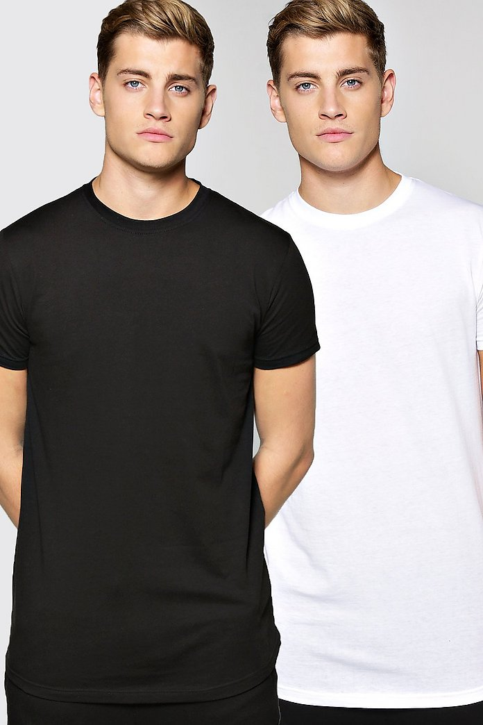 2 Pack Longline T Shirt With Curved Hem