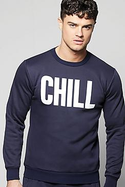 Chill Print Crew Neck Lounge Sweater