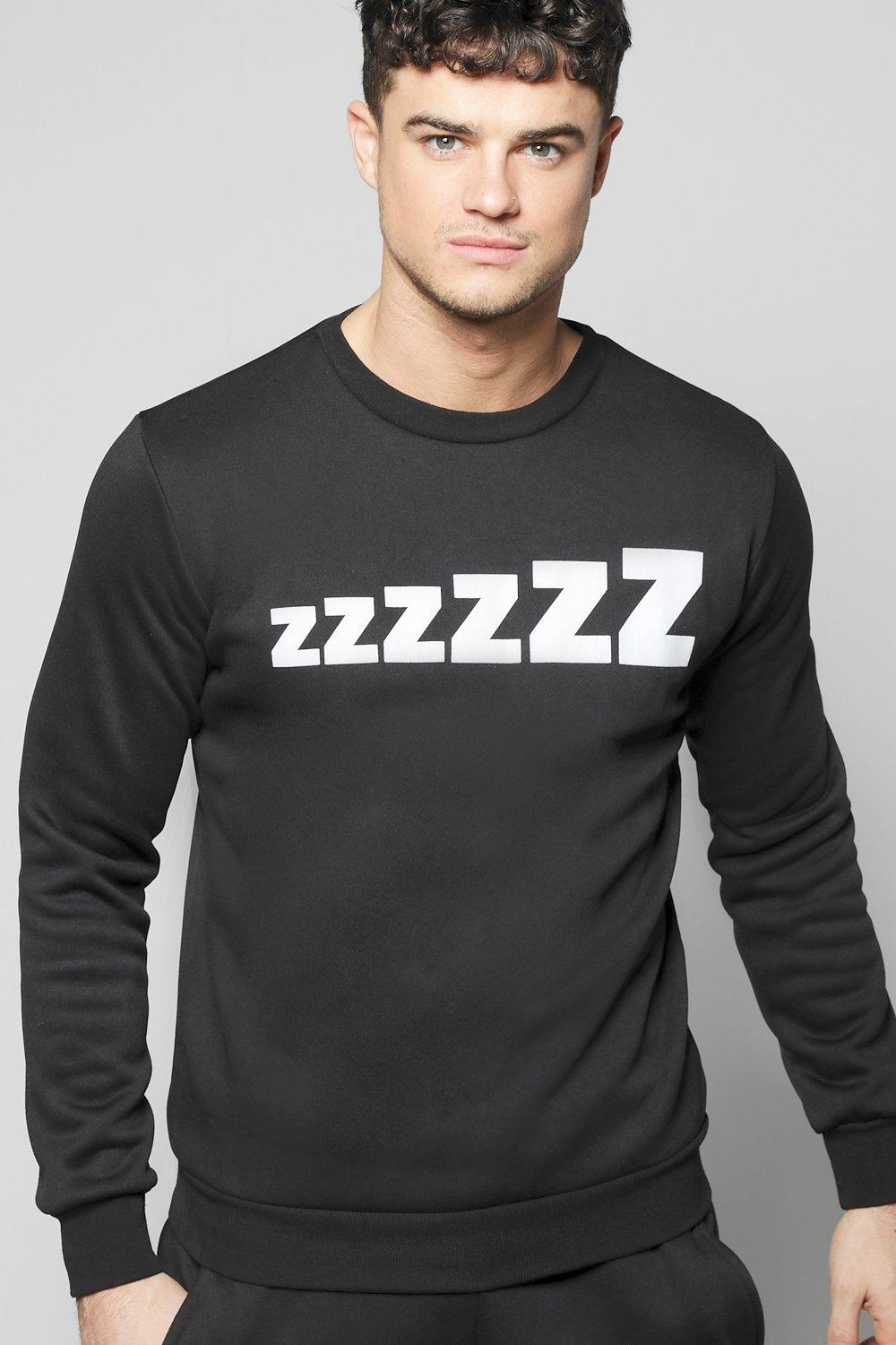 Zzz Print Crew Neck Sweater