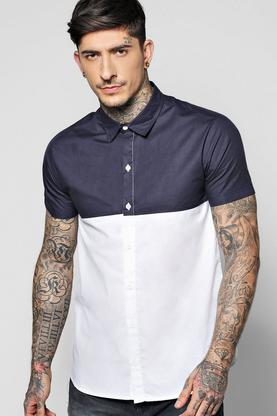 Contrast Tone Short Sleeve Shirt