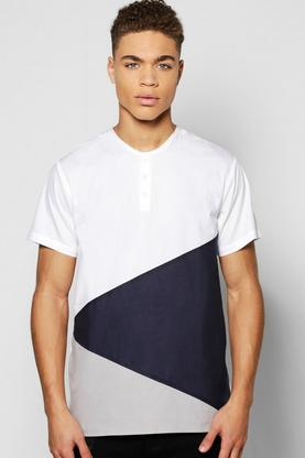 Short Sleeve Splice Grandad Shirt