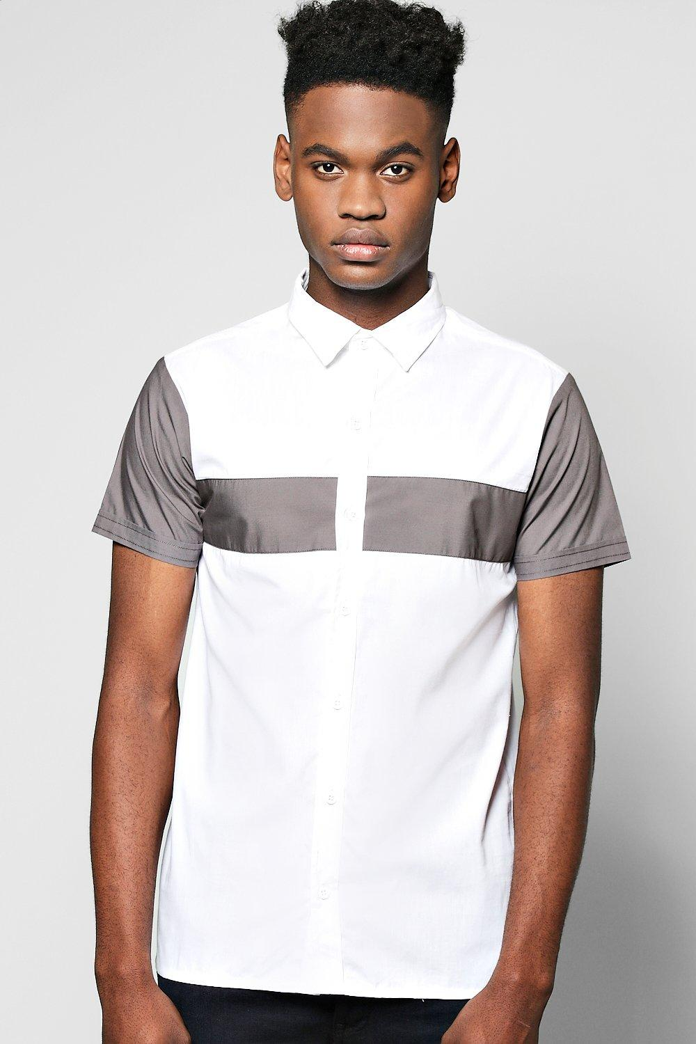 Contrast Panel Short Sleeve Shirt