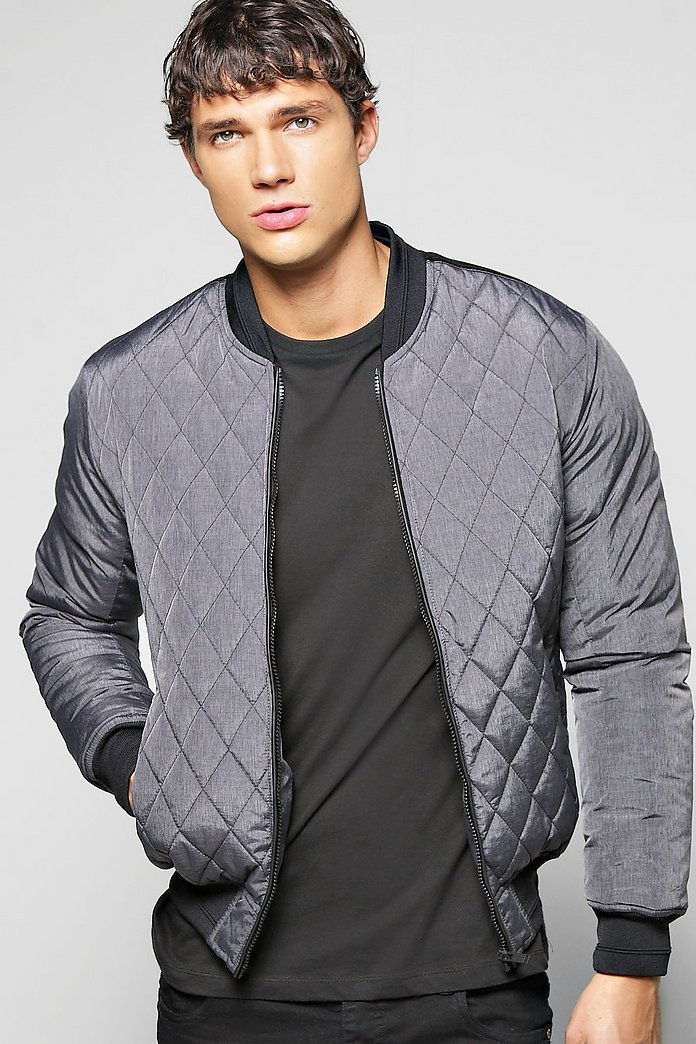 Quilted Bomber With PU Details
