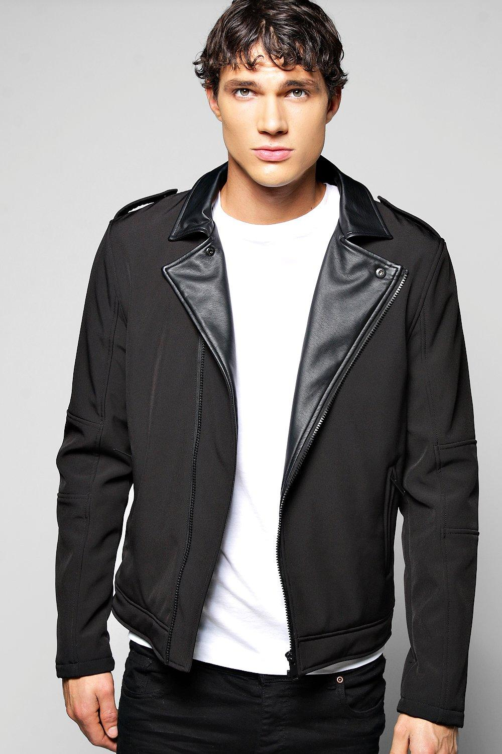 Biker Jacket With PU Lapels