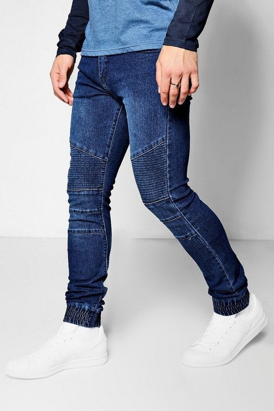 Super Skinny Fit Cuffed Biker Jeans