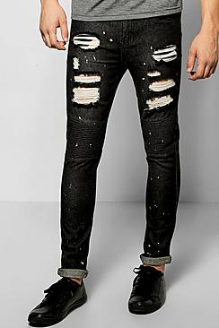 Skinny Rigid Paint Splatter Ripped BikerJeans