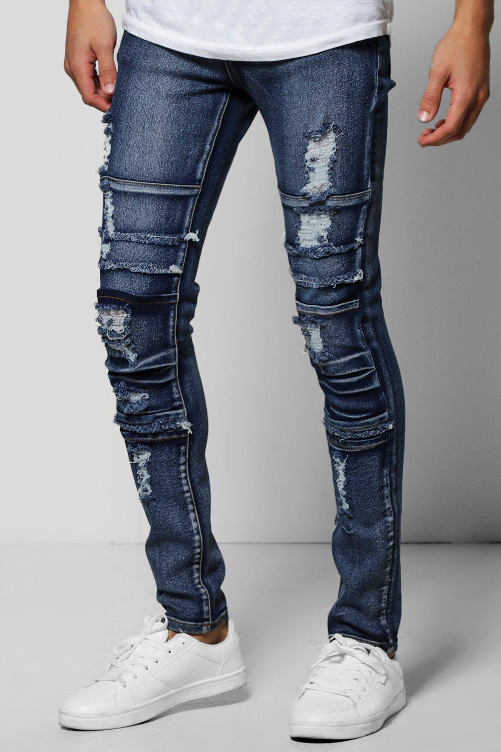 Stretch Skinny Fit Multi Panelled Washed Jeans