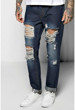 Skinny Fit Rigid Destroyed Cropped Jeans