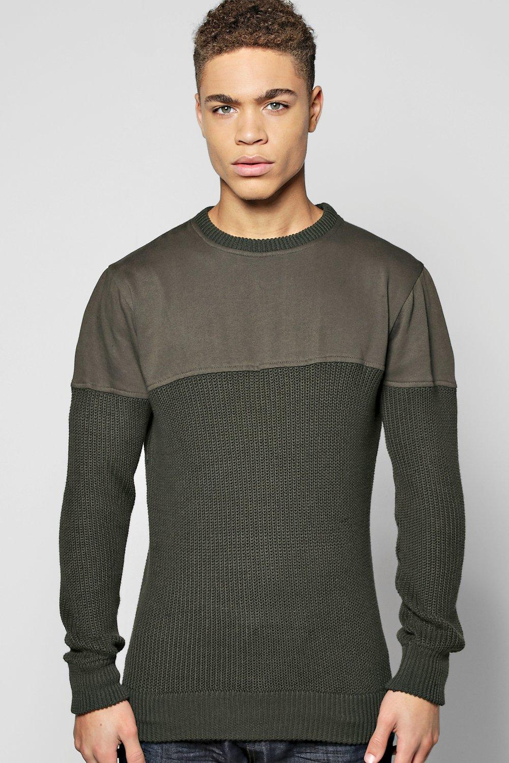 Cable Knit Jumper With Jersey Sleeves