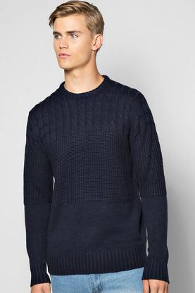 Mixed Cable Crew Neck Jumper