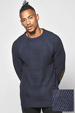 Heavy Knit Jumper With Elbow Patches