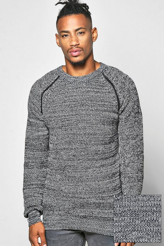 Knitted Jumper With Shoulder Zip