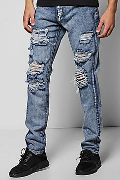Skinny Fit Rigid Jeans With Extreme Rips