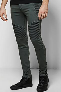 Clay Wash Skinny Fit Biker Jeans
