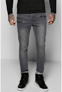 Skinny Fit Jeans With Multi Zip Detail