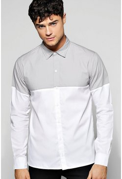 Long Sleeve Colour Blocked Shirt
