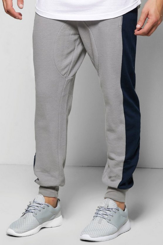 Skinny Fit Waffle Joggers With Side Panel