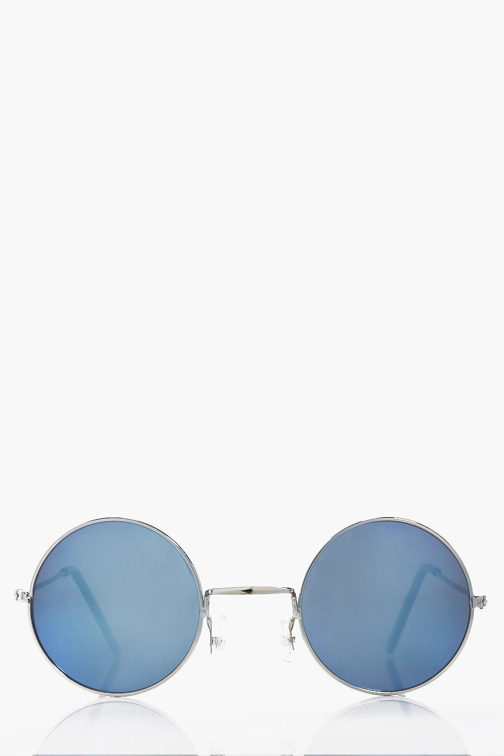 Silver Frame Round Sunglasses with Blue Lens