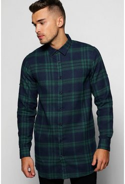 Longline Check Shirt With Back Zip