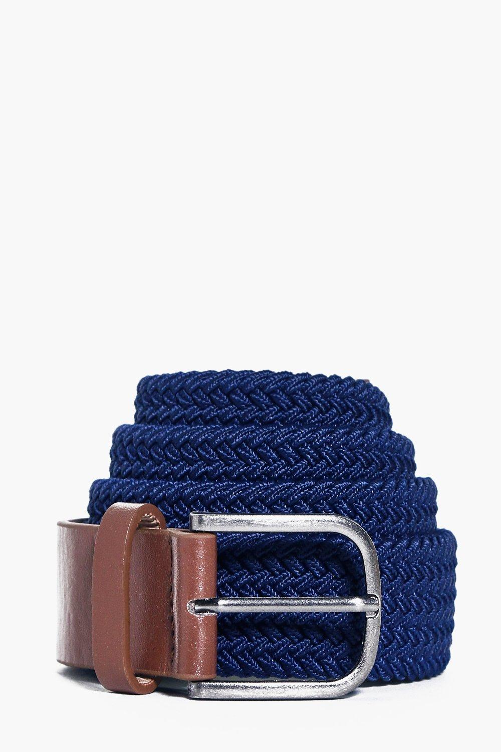 Stretch Woven Belt With Pu and Buckle