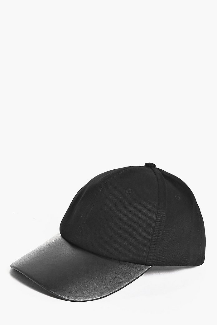 Black Baseball Cap With Pu Peak