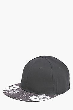 Black Snapback With Floral Peak