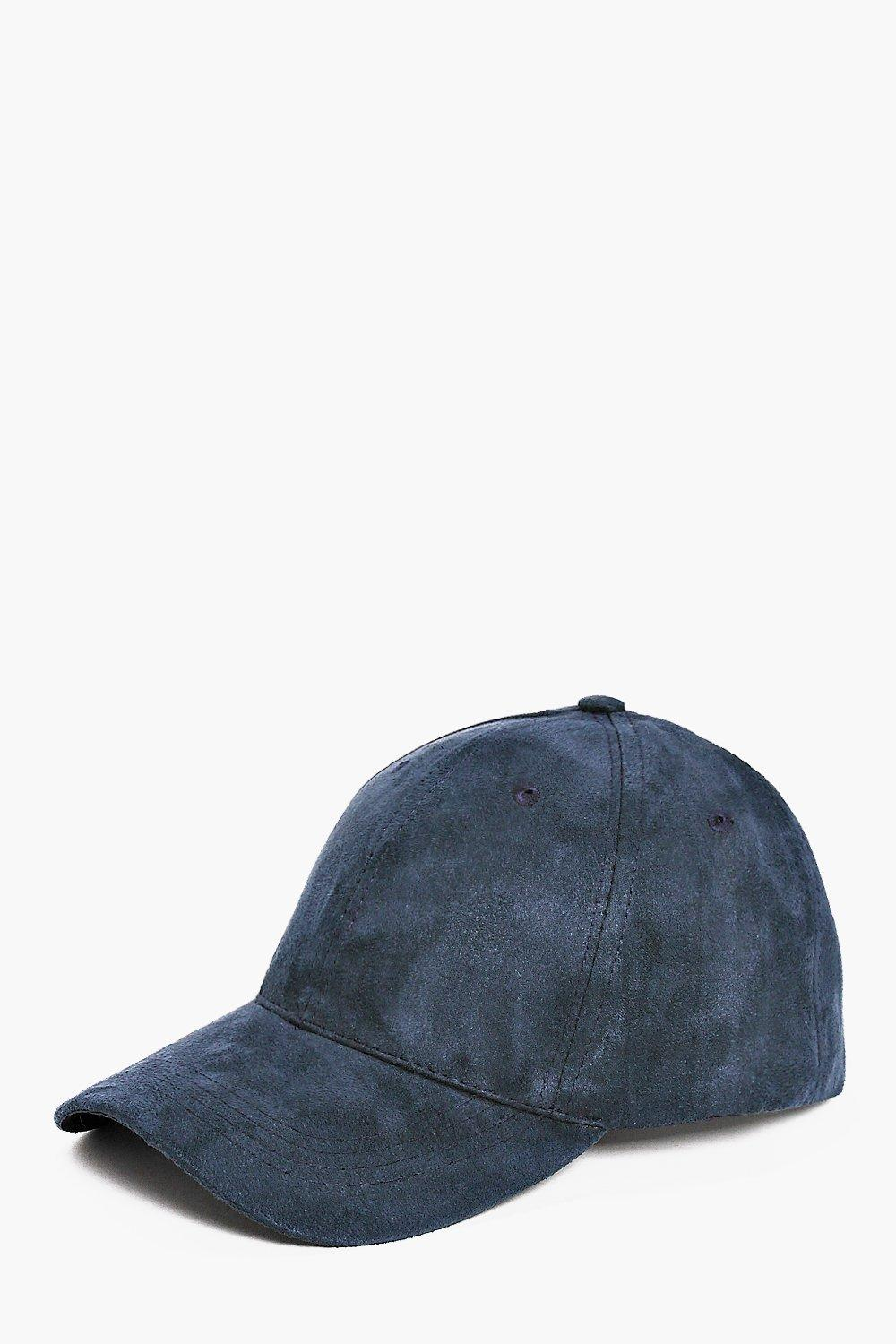 Navy Faux Suede Baseball Cap