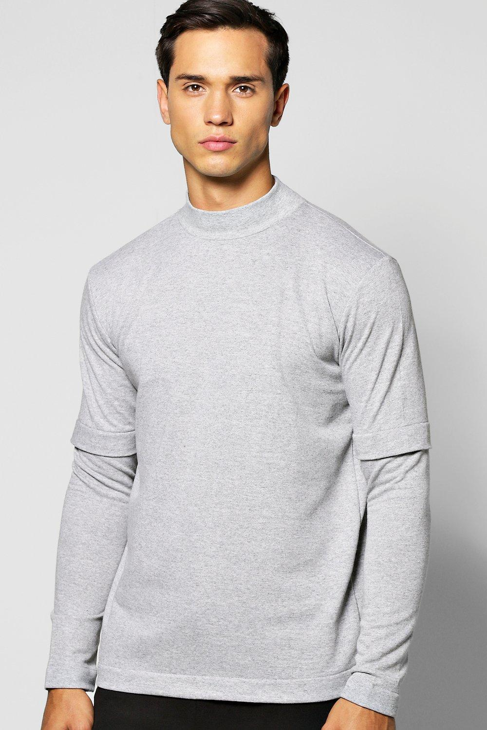 Layer T Shirt With Turtle Neck  grey