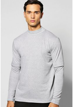Faux Layer T Shirt With Turtle Neck