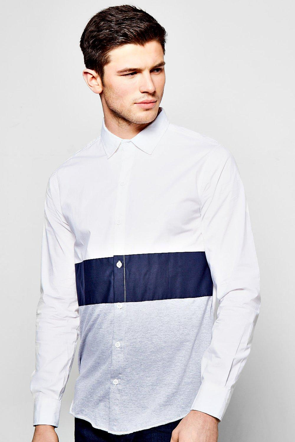 Colour Block Shirt With Jersey Panel