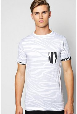 Pocket Print Tee With Turn Up Sleeve