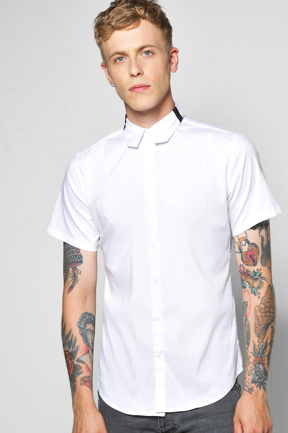 Short Sleeve Shirt With Colour Block Collar
