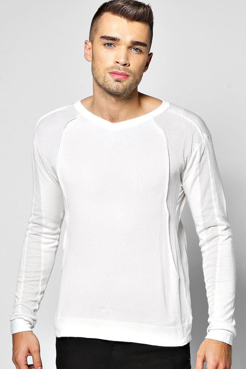 Fine Guage Crew Neck Jumper With Panels
