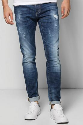 Skinny Fit Washed Destroyed Jeans