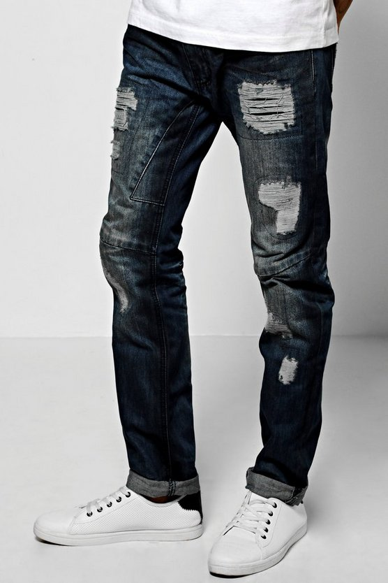 Skinny Fit Ripped Panel Jean