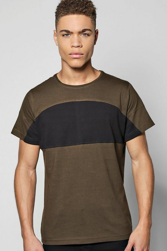 Panel T Shirt With Zip Detail
