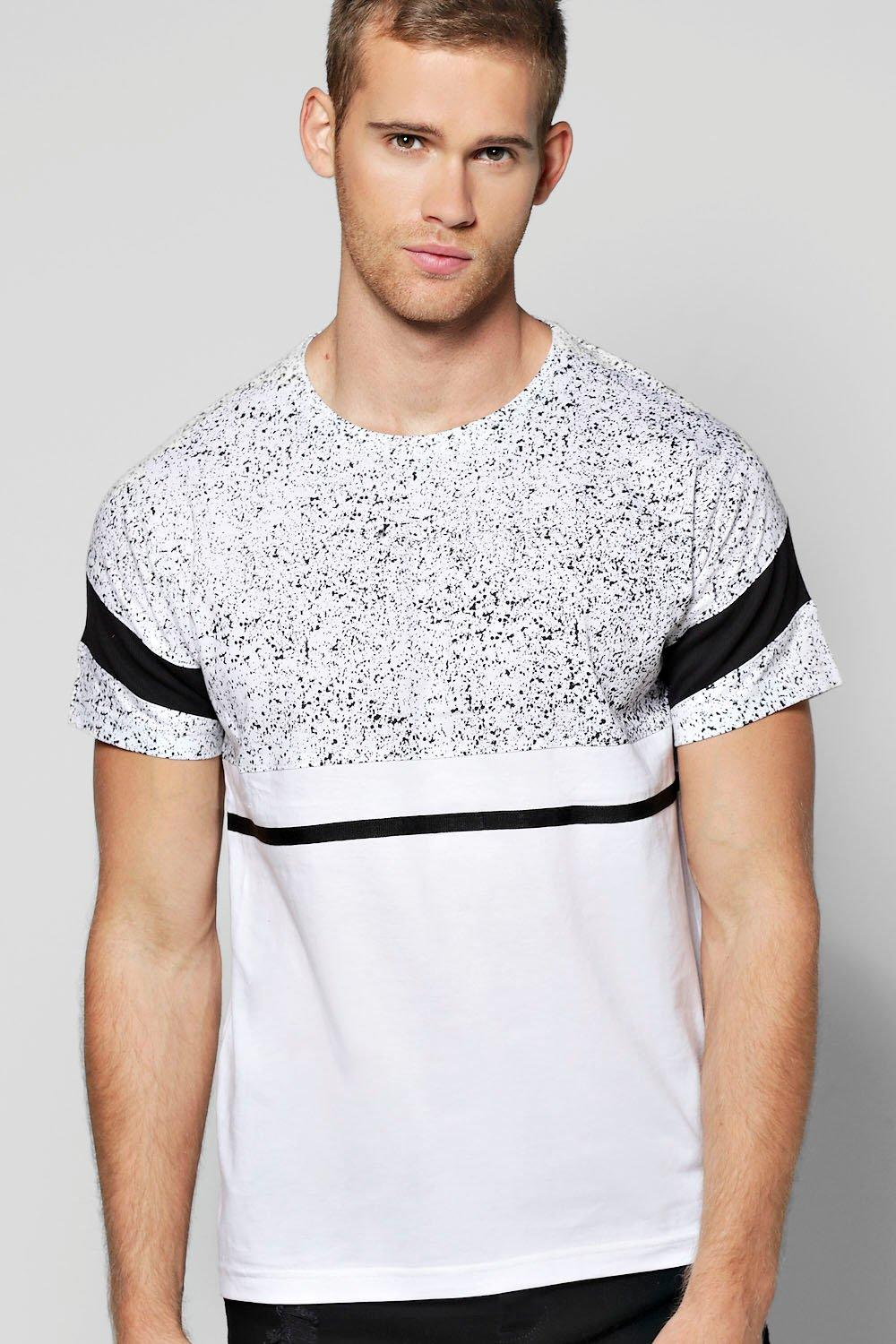 Splatter Panel T Shirt With Contrast Panels