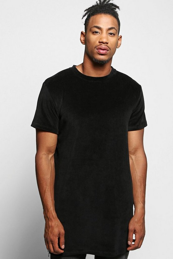 Longline Velour T-Shirt With Side Zips