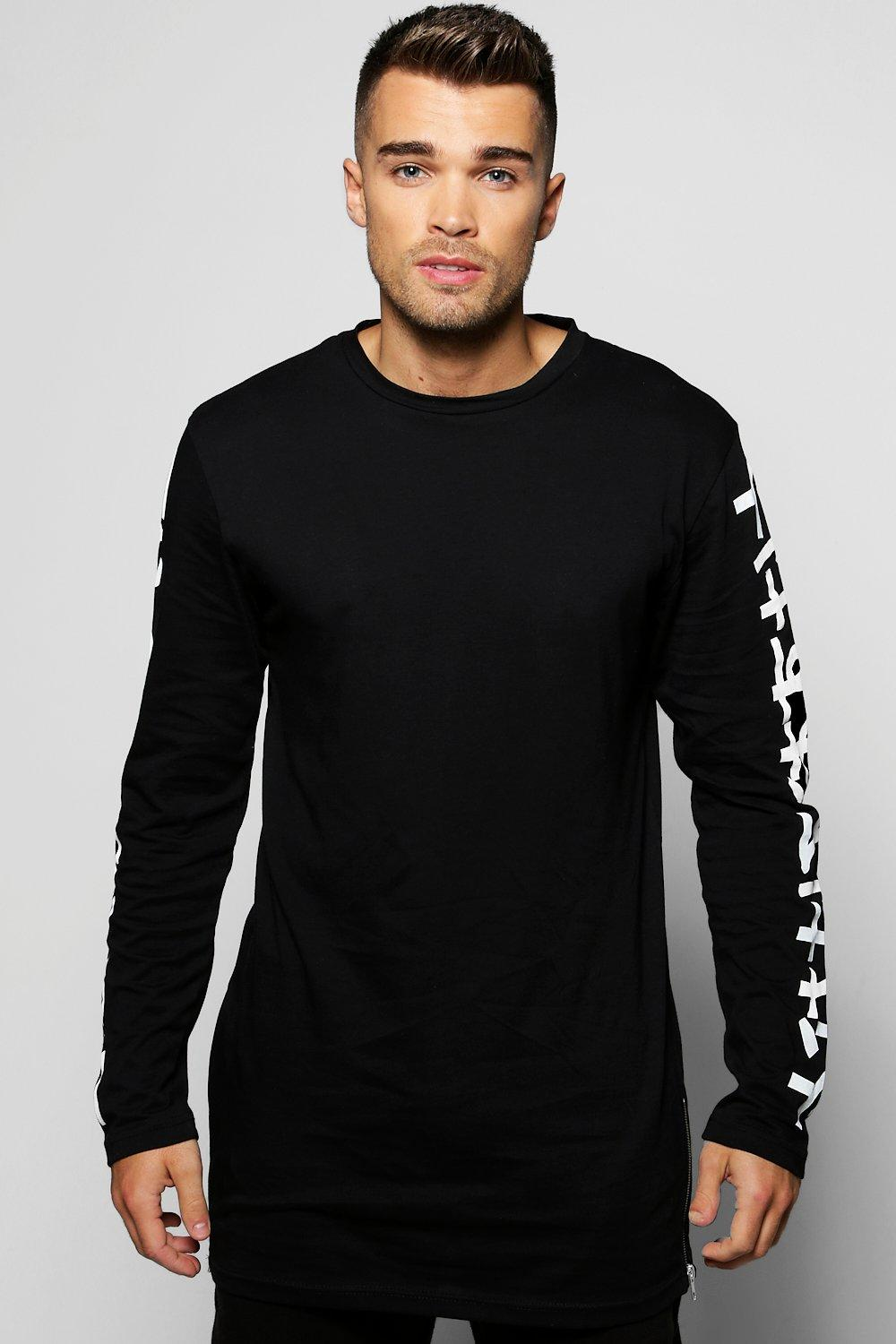 Longline T-Shirt With Side Zips and Printed Sleeves