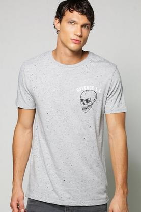 Front/Back Print Splatter T Shirt